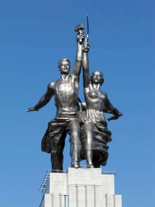 A statue by Vera Mukhina for the 1937 Paris International Exhibition, portraying a male factor worker with a hammer and a female peasant with a sickle united.