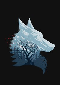 Image of a silhouette  of a wolf's head, looking like it is sculpted from white, blue ice. In the foreground skeletal trees. Edges of cover in black.